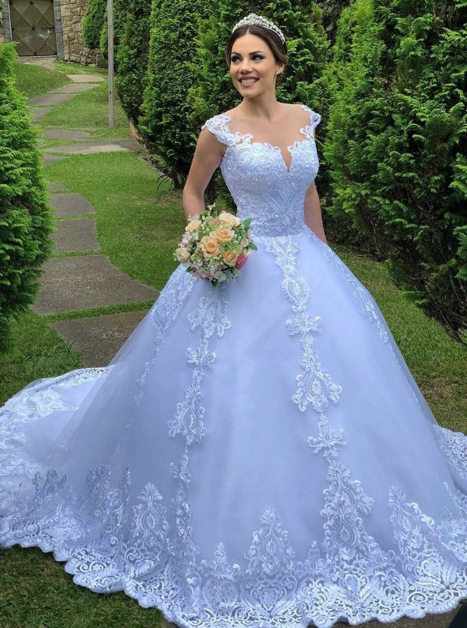 Ball Gown Round Neck Sweep Train Light Blue