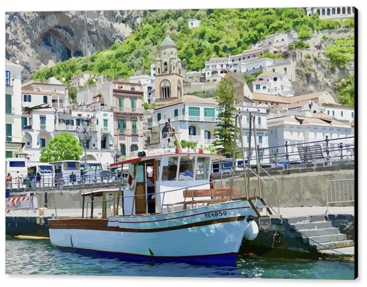 """A wonderful way to see some of the magnificent and dramatic Amalfi coastline. A  little private tourist boat. The classic Italian shops and homes are stacked on the hillside vying for the best views. The photo has a light digital """"painterly"""" overlay."""