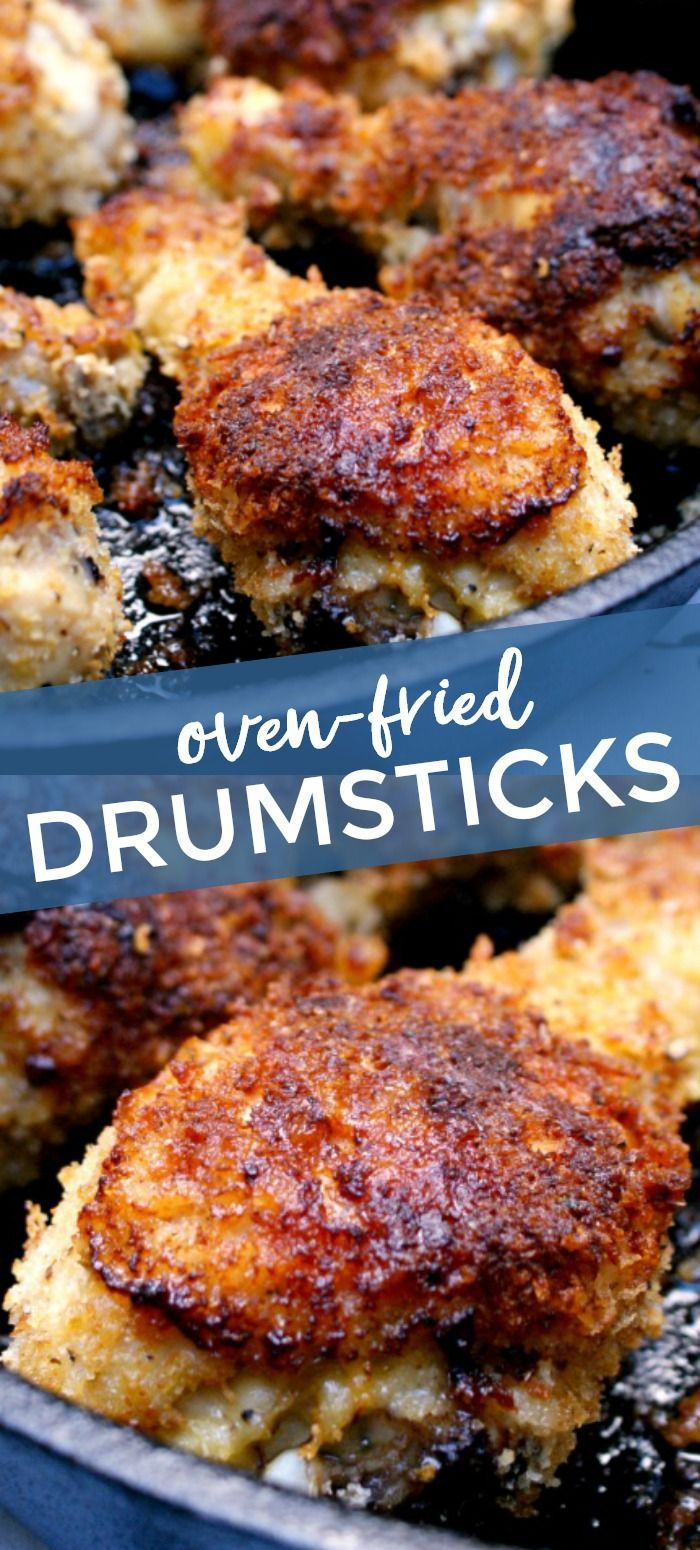 Oven Fried Panko Crusted Chicken Drumsticks Are Coated With An Extra Crunchy Seasoned Panko Crust And Then Bake In 2020 Panko Crusted Chicken Chicken