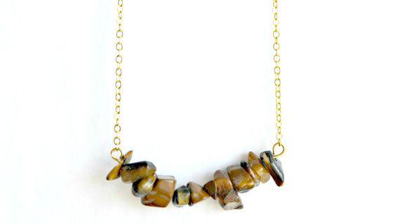 Tiger's Eye Necklace Cluster Crystal Pendant Gold by IndigoLizard