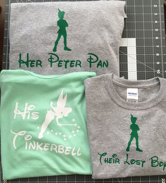 ♥WELCOME TO OUR SHOP!♥  ♥Thank you so much for visiting Sparkle Design Co! ♥  ♥This listing is for 2 Adult Tinkerbell/Peter Pan Shirts in the