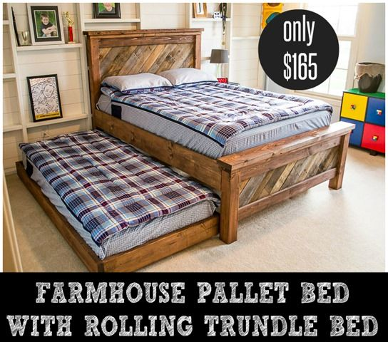 Free plans for a DIY Full Sized Farmhouse Pallet Bed with Rolling Trundle for only $165. ad dreamitforward makeadreamhappen