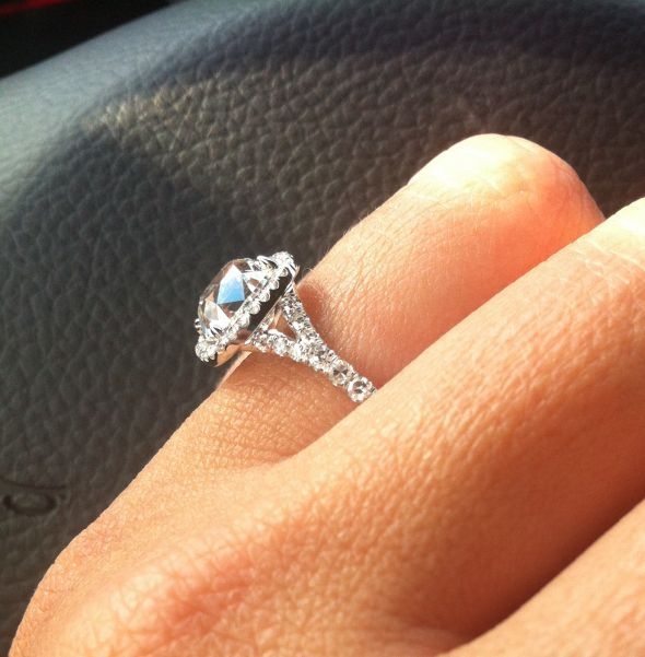 Before & After Pics - My NEW Halo!! :  wedding cushion engagement ring halo old mine reset ring setting split shank IMG 7124