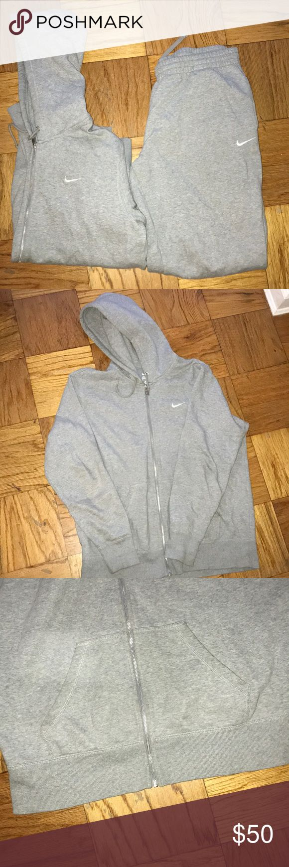 Men's gray Nike sweatsuit Men's Nike gray sweatsuit. Used. Needs to be ironed. One pocket in the back of pants. Zipper hoodie. Nike Other