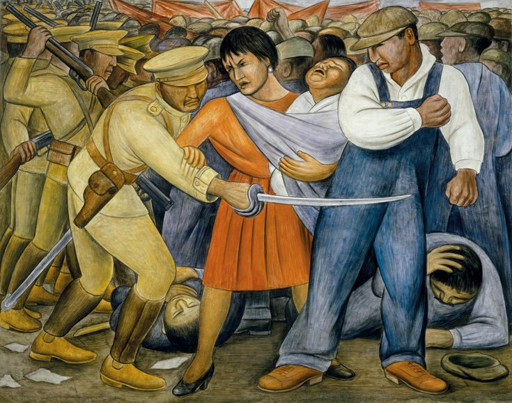 El levantamiento 1931 - Diego Rivera.  1931 En El levantamiento, una mujer con su bebé cargado a la cadera y un trabajador se defienden del ataque de un soldado uniformado. Atrás, una multitud amotinada choca contra otros soldados que doblegan a los manifestantes. El lugar es incierto aunque el tono de la piel de los personajes implica que la escena se desarrolla en México o en otro país de Latinoamérica. A principios de los años treinta, una era en que prevaleció el descontento laboral,..