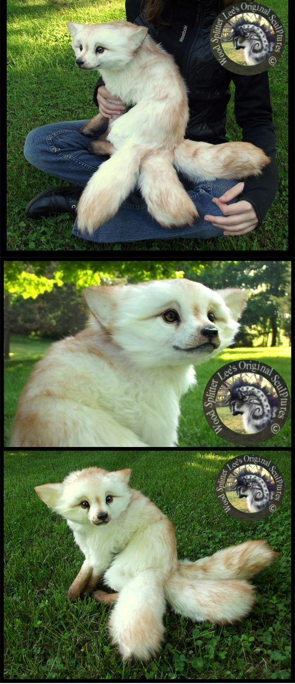 """""""Shyla"""" - OOAK, fully poseable fantasy fox by Wood Splitter Lee Cross (SO CUTE!)"""