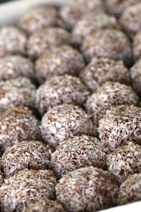 Kókuszgolyó: Hungarian coconut rum balls These delicious rum balls are made with cherries and rolled in coconut flakes. It is a very rummy rum ball, so if you prefer a lighter taste, ease up on the rum.