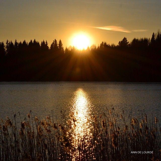 Sunset, Monday, 20th April 2015, Nordbytjernet, Romerike, Norge.