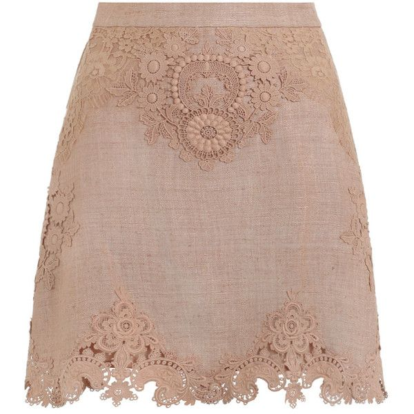 ZIMMERMANN Bowerbird Applique Skirt (5.623.420 IDR) ❤ liked on Polyvore featuring skirts, brown skirt, knee length a line skirt, zimmermann skirt, zipper skirt and lace a line skirt