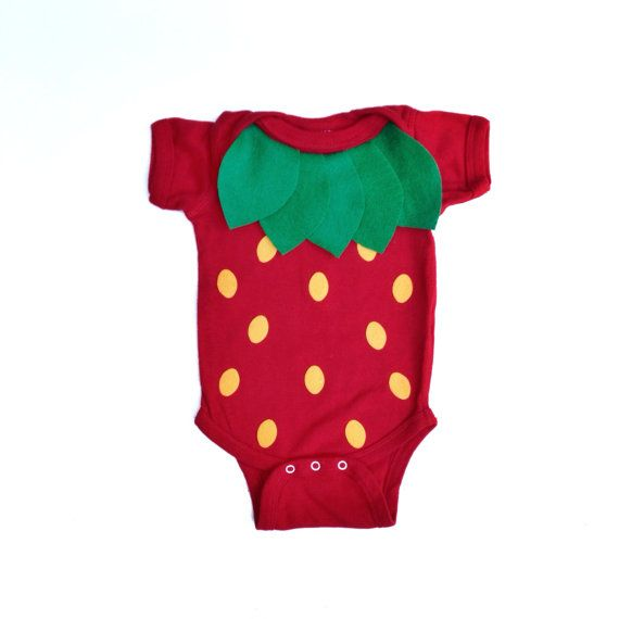 The fruit onesie! So simple, so easy to wear. This strawberry onesie is my daughters favorite piece of clothing. Its adorable for newborns and