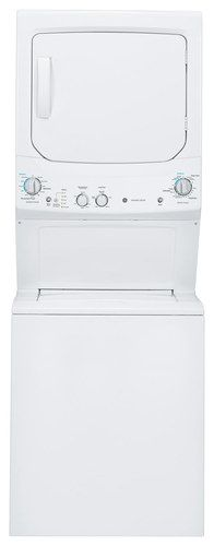 GE - Unitized Spacemaker 3.2 Cu. Ft. 11-Cycle Washer and 5.9 Cu. Ft. 4-Cycle Dryer Electric Laundry Center - White-on-White