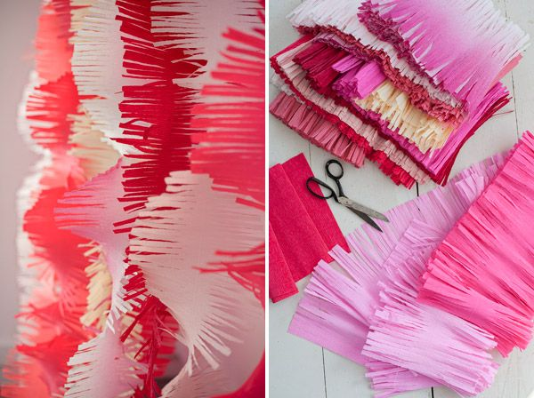 Big fringe crepe paper diy for photo booth or party for Decorazioni feste