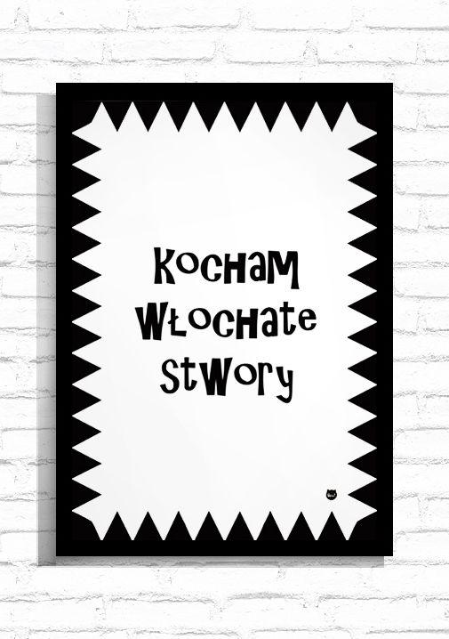 """Typografia """"Kocham Włochate Stwory""""/ Typography """"Love the fluffy pets"""""""