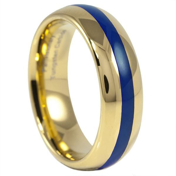 Thin Blue Line take on a classic look. Great as a wedding band or as a statement piece for your right hand