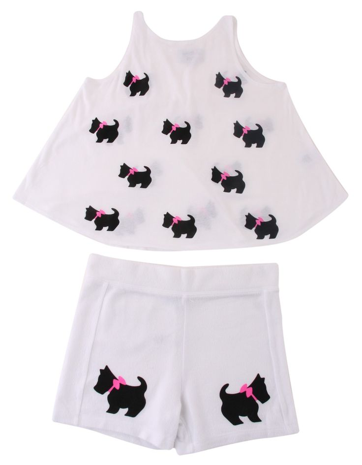 Wildfox White Vest and Shorts Black Doggie Set | Accent Clothing