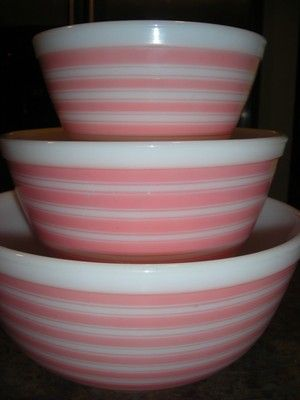 RARE Vintage Pyrex Complete Set of 3 Pink Rainbow Stripe Nesting Mixing Bowls | eBay