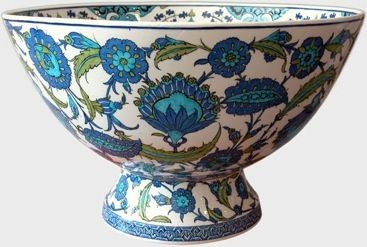 Iznik Pottery Footed Bowl with Floral Design. Click for a nice historic overview of Iznik pottery.