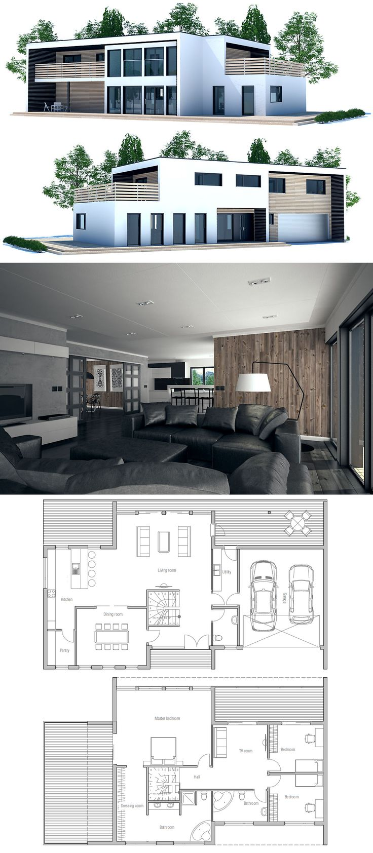 Great Contemporary Home Plans. Beautiful Dream Home Plans In Modern Architecture.