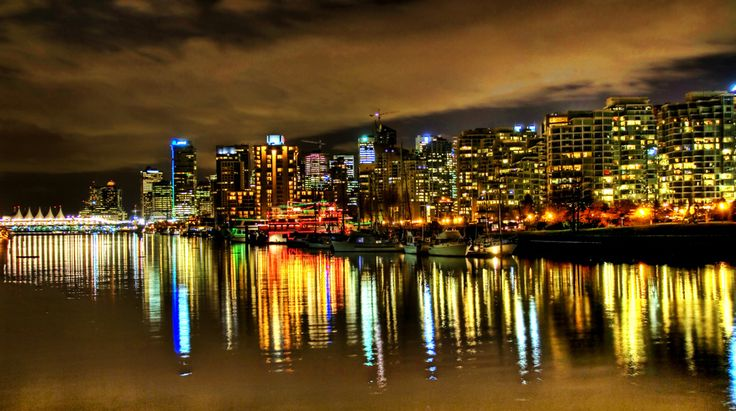 This is an HDR of Vancouver taken from Stanley Park very late at night. We headed over there after a dinner party since it was one of the few nights it wasn't raining, we wanted to take the opportunity to see the city. - Vancouver, Canada - Photo from #treyratcliff Trey Ratcliff at http://www.StuckInCustoms.com