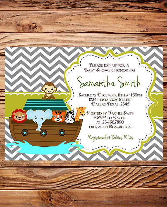 Noah's Ark Baby Shower Invitation, Ark Baby Shower, Elephant, Giraffe, Zebra, BOY, Girl, Gray, baby shower boy, girl. $20.00, via Etsy.