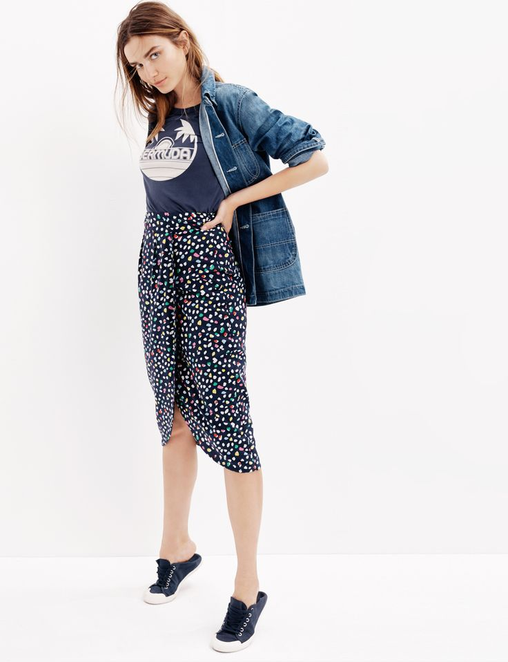 J.Crew Looks We Love: women's Point Sur workwear denim jacket, Bermuda garment-dyed T-shirt, tulip skirt in Ratti® Happy Cat print and Tretorn® canvas T56 sneakers.
