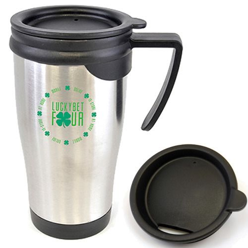 Make your brand the talk of the town with 450ml Silver S/S Travel Mugs With Push On Lid!  450ml Silver S/S Travel Mugs With Push On Lid are double walled stainless steel travel mugs with a plastic interior.  Black push on lid, black handle, and black trim to the base of the mug.  Generous branding area allows for up to 4 spot colours to be printed wrapped around the mug or laser angraving to the front and back.  http://bit.ly/1ySRSVf #brand  #travel  #mugs