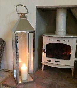 Candle Lantern Large Silver Hampton Metal Glass TEA Light Lantern 77cm | eBay