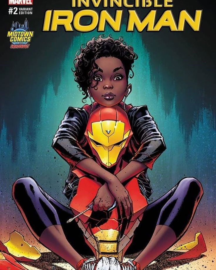 Well, my recent Riri Williams artwork is NOW an Exclusive @midtowncomics variant cover for The Invincible IRON MAN #2, available in both color by @psteigerwaldart and B&W versions! #invincibleironman #ririwilliams #comicbooks #art #comicbookart #jscottcampbell