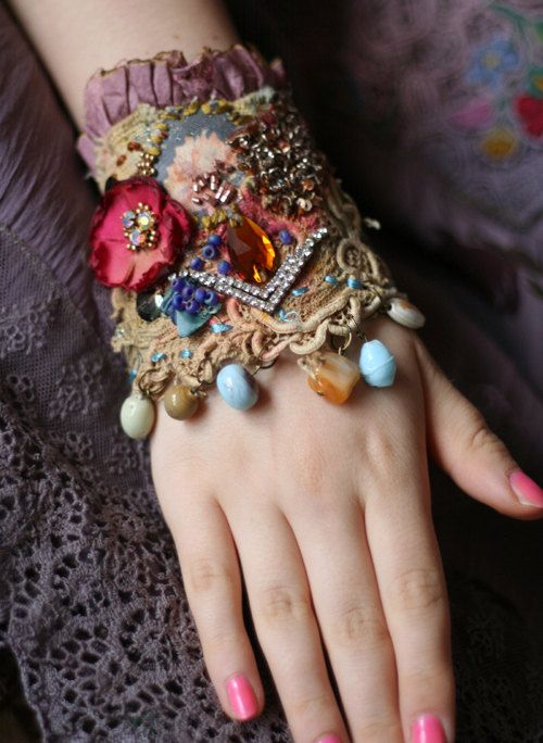 Antique rose, romantic shabby chic wrist cuff -antique laces, hand beaded