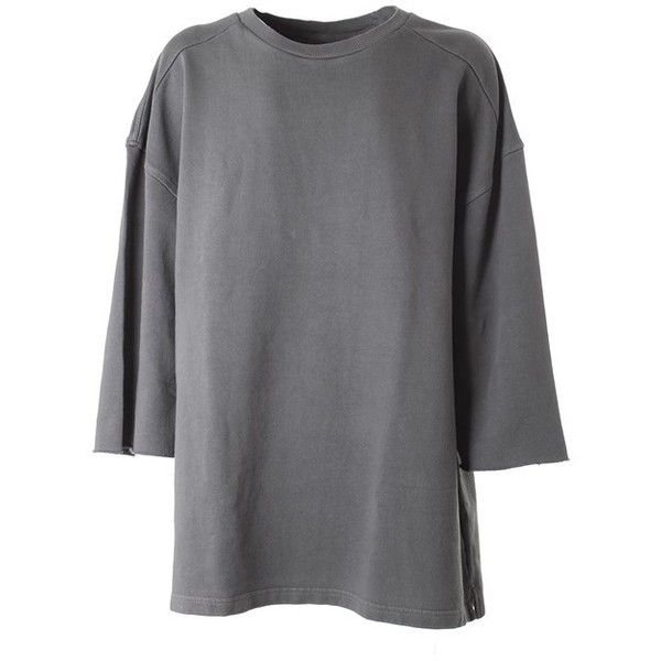 YEEZY BY KANYE WEST Cotton sweatshirt ($379) ❤ liked on Polyvore featuring tops, grey, 3/4 sleeve tops, gray top, 3/4 length sleeve tops, three quarter sleeve tops and grey top