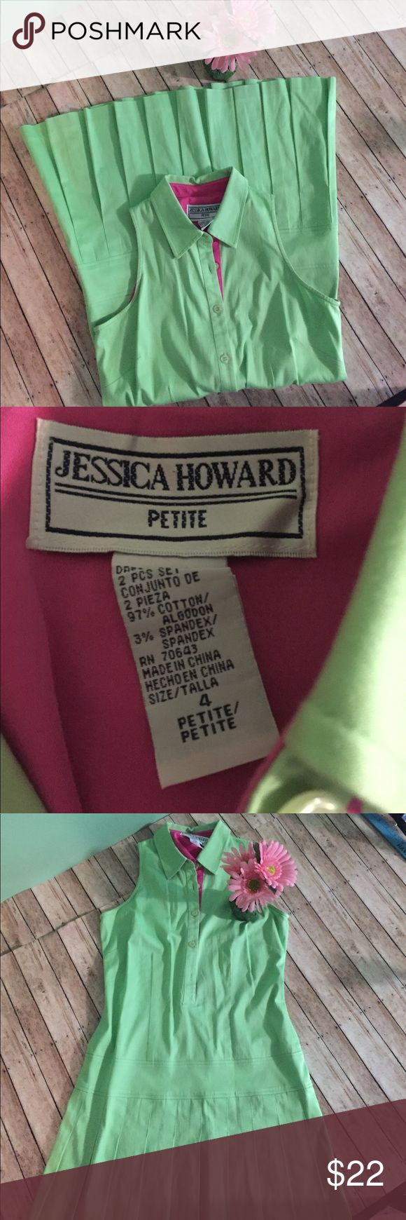 "Jessica Howard petite summer pleated dress The perfect summer dress!  Pleated skirt. Buttons on top and a peek of pink for that preppy look. Length 33"". Waist 15"". Bust 17"" Jessica Howard Dresses Mini"