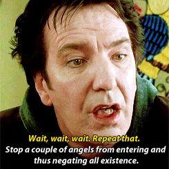 "Alan Rickman as the Metatron (Angel/voice of God) in ""Dogma"" 1999  via GIPHY"