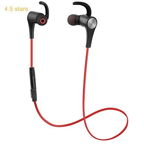 SoundPEATS Wireless Headphones Magnetic Earphones Sport In-Ear Secure Fit Stereo Bluetooth Earbuds for Running (Bluetooth 4.1 aptx 6 Hours Play Sweatproof ) Q12  Red