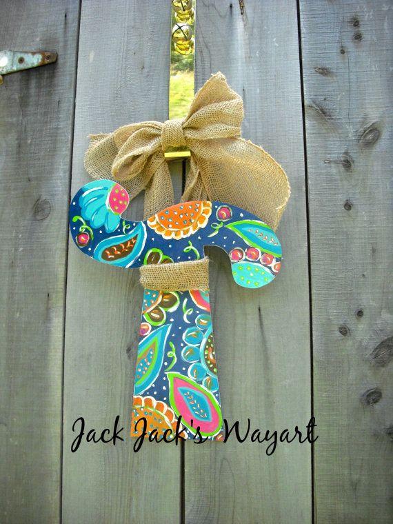 Initial door hanger Alphabet letter Wood by JackJacksWayart