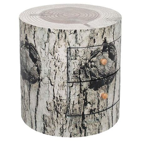 Crafted from birch wood, this side table is an eye-catching addition to any scheme. Styled like a tree trunk, it features two drawers.