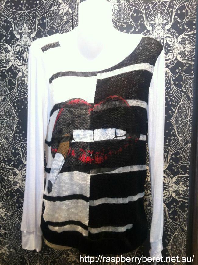"Lauren Moshi Florence Long Sleeve ""Cig Lip"" sweater $194. www.raspberryberet.net.au #laurenmoshi #rocknroll"
