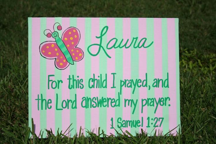 Answered My Prayer, 11x14 Wall Art, 1 Samuel 1: 27, Bible Verse Butterfly Nursery, Baby Dedication, Christening, Baptism Gift. $42.99, via Etsy.