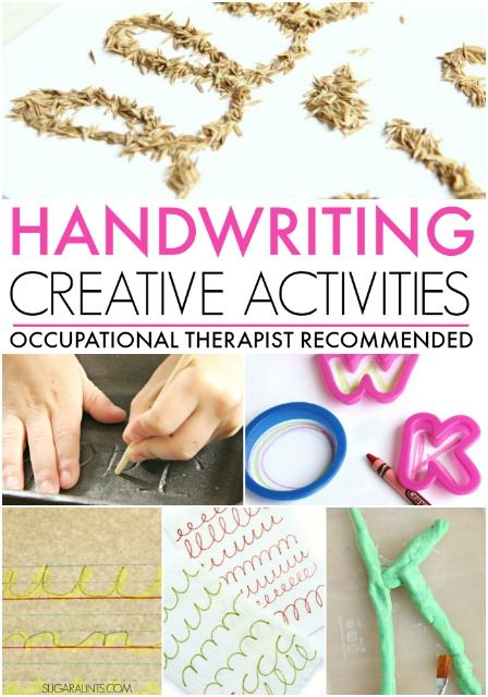 Creative and hands-on learning activities to work on printed and cursive handwriting for kids, from an Occupational Therapist.