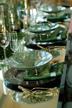 mirrored green tablescape