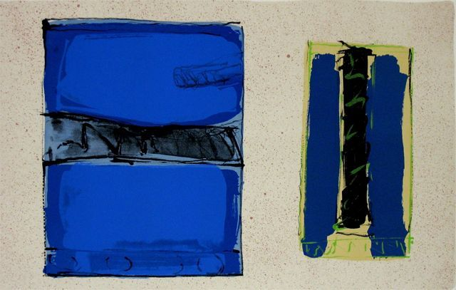 Overmalt postkort 2008, litografi av Kjell Nupen