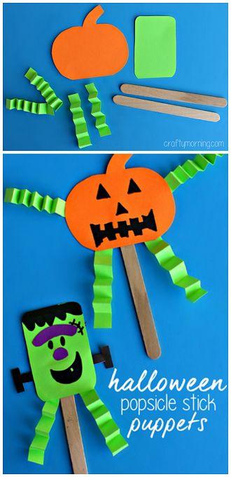 Easy Halloween Popsicle Stick Puppets #Halloween craft for kids - Frankenstein/pumpkin   CraftyMorning.com