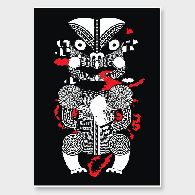 Tautoki Art Print by Johnson Witehira - We love these modern graphic Maori art prints by Johnson.... The red/black/white colour combo is so fresh. Editions of only 30! http://www.endemicworld.com/nz-art-prints-and-posters/tautoki-art-print-by-johnson-witehira.html