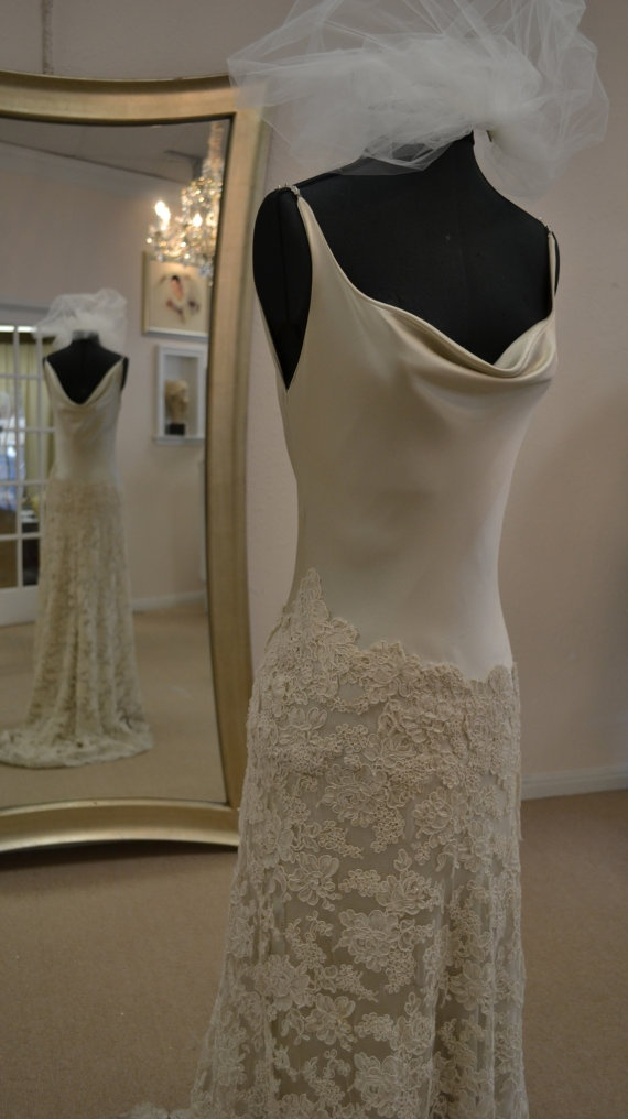 Couture Wedding Dress in Oyster by CouturesbyLaura on Etsy, $1600.00