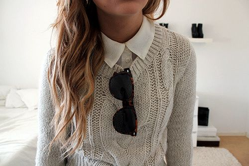 sweater, glasses, collar, hair.