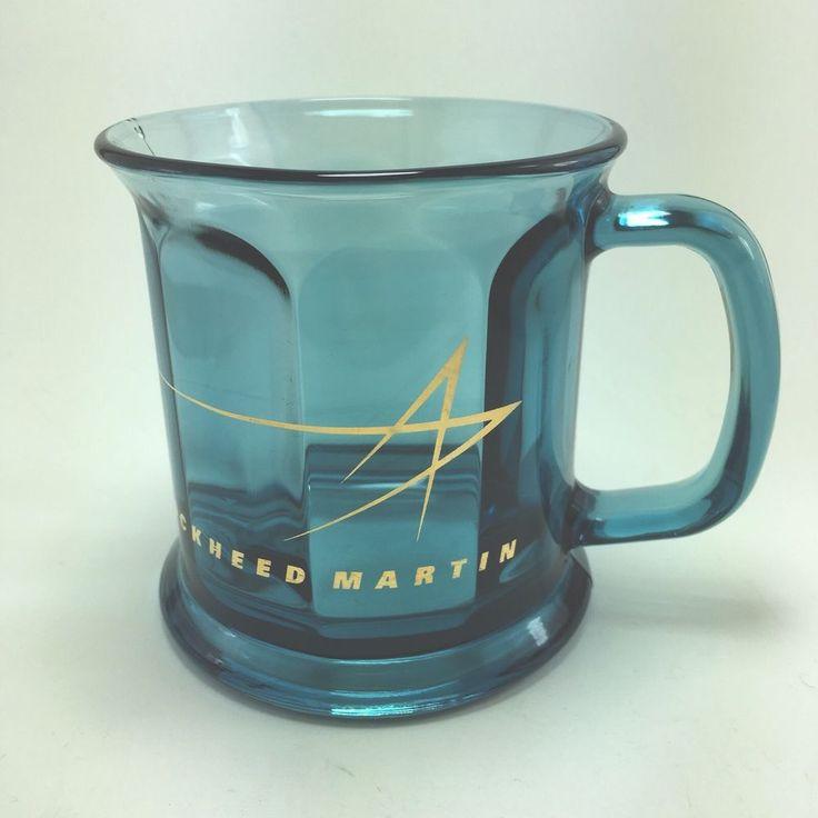 Lockheed Martin Gold Star Logo Smoky Blue Paneled Optic Glass Mug Cup Made USA