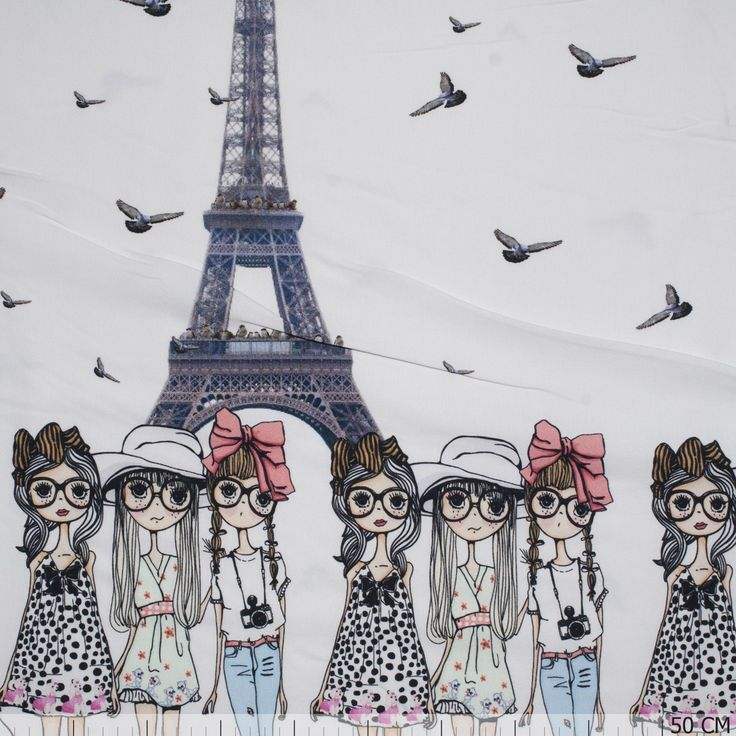 Panel & Border Pattern - Tricot Border Little Girls in Paris - - €16.49 & Best Price Order today on Textielstad