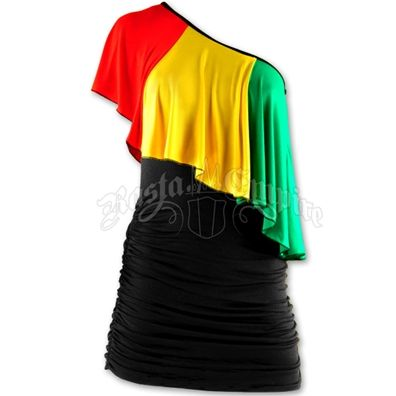 "This one shoulder dress features a rasta striped wide ruffle top. The body of the dress is black with ruching on the sides. Length:  approximately 37"". Hand wash and hang dry. Made of 95% Rayon and 5% Spandex."
