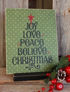 christmas tree subway art do on wood decopage Christmas paper