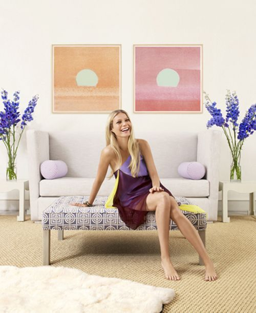 """Image of Gwyneth Paltrow in her Hamptons home. By using this fabric selection on the bench seat, the room has more depth and interest. The """"Circles and Squares"""" fabric selection injects some sophistication in what could otherwise be a more subdued room if the sorbet colour palate was continued to the bench seat."""