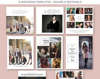 Senior Photography Instagram Templates, Social Media Marketing for Photographers, Photoshop Templates, SPSM10, INSTANT DOWNLOAD
